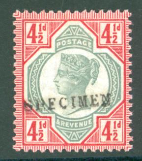 1887 Jubilee 4½d green & carmine optd SPECIMEN