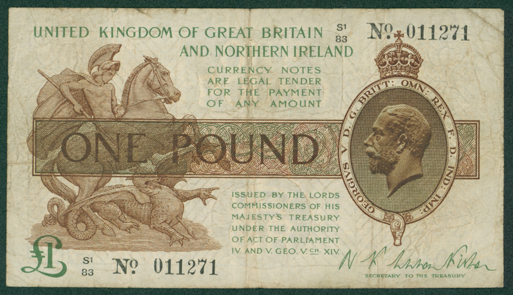 1927 Fisher £1 (S1/83 011271)