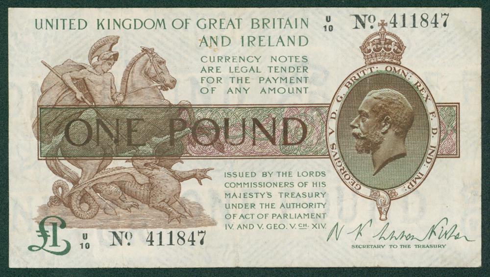 1919 Fisher £1 (U/10 411847)