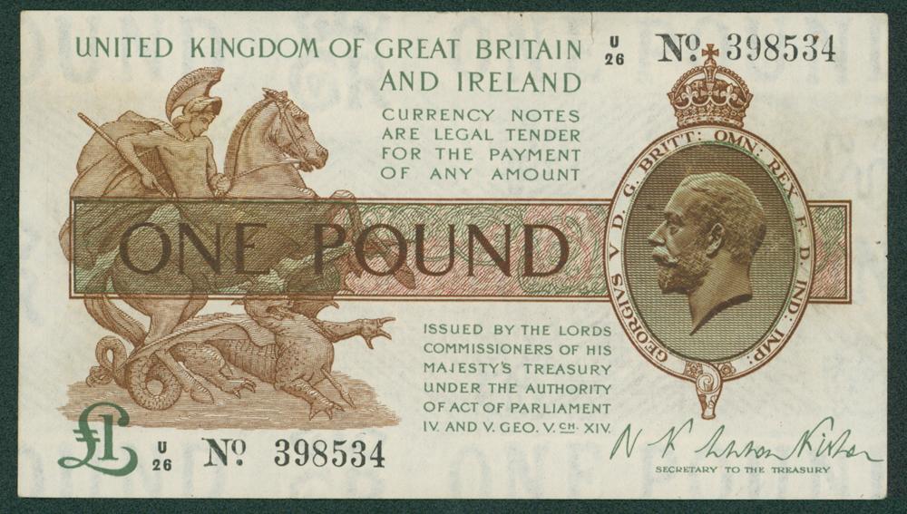 1919 Fisher £1 (U/26 398534)
