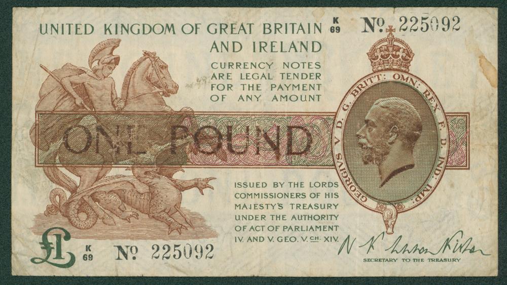 1919 Fisher £1 (K/69 225092)