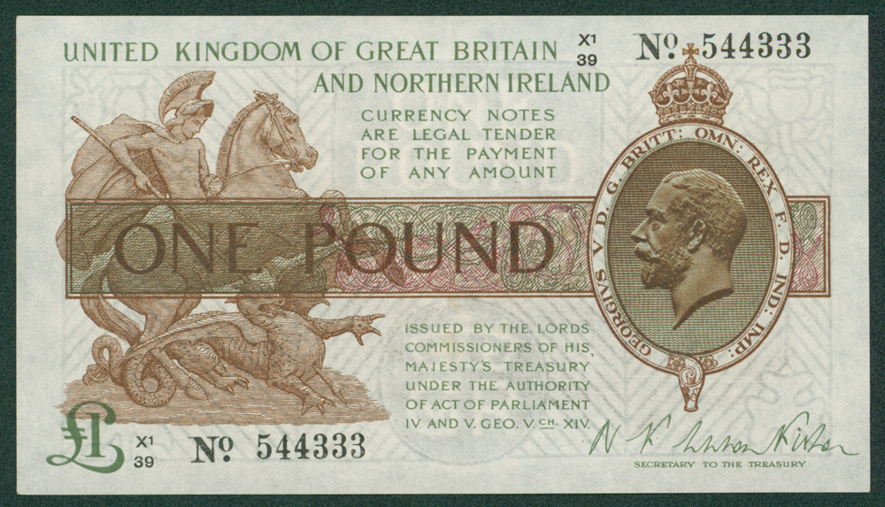 1927 Fisher £1 (X1/39 544333)