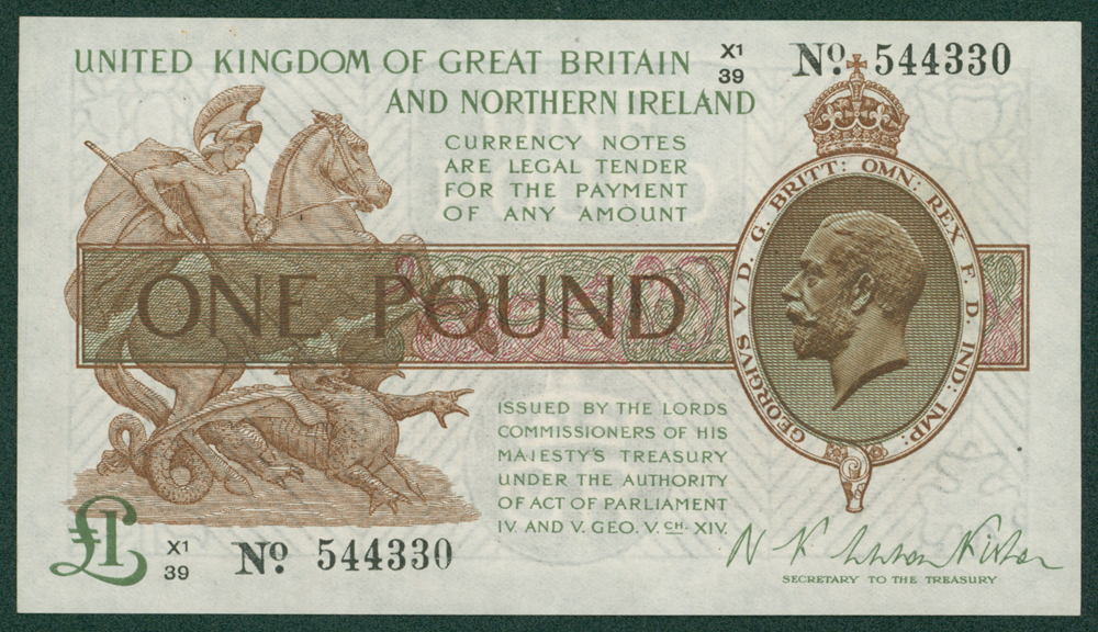 1927 Fisher £1 (X1/39 544330)