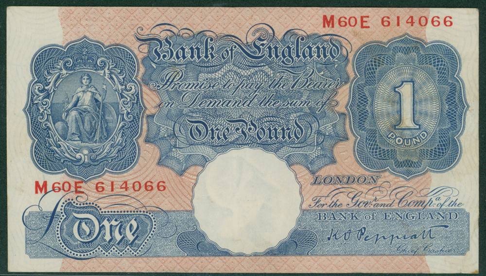 1940 Peppiatt £1 Emergency issue (M60E 614066)