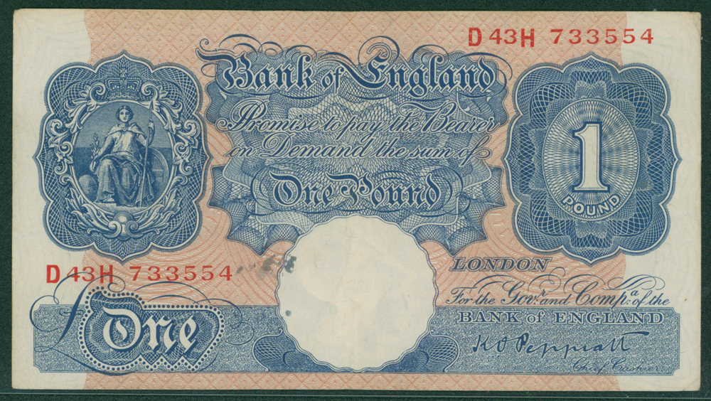 1940 Peppiatt £1 Emergency issue (D43H 733554)