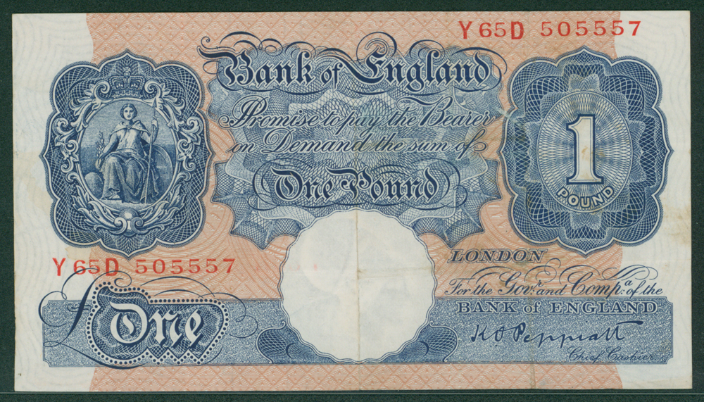 1940 Peppiatt £1 Emergency issue (Y65D 505557)