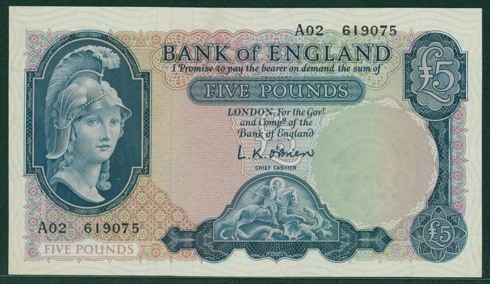 1957 O'Brien £5 (A02 619075)