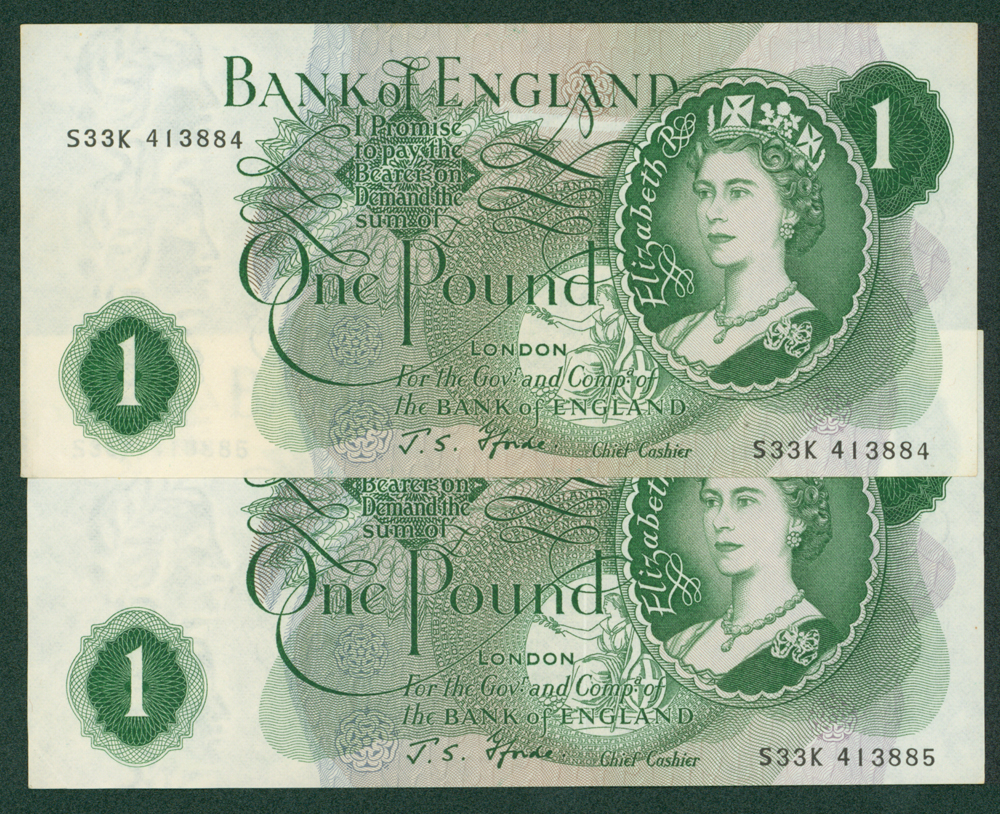 1967 Fforde £1, consecutive pair