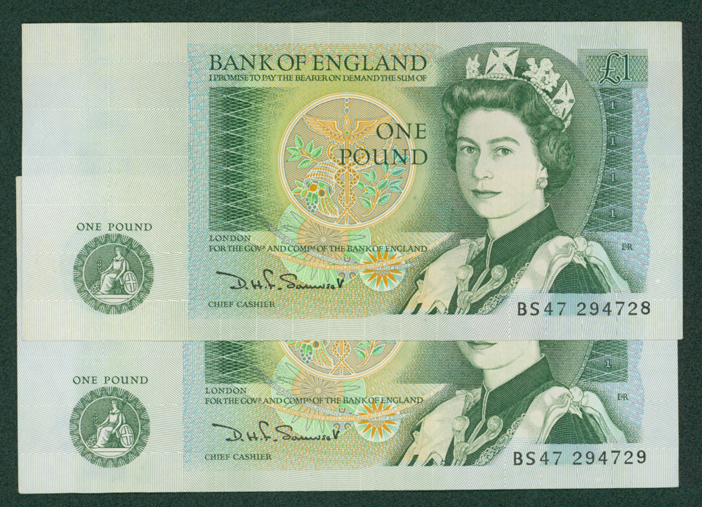 1970 Somerset £1, consecutive pair