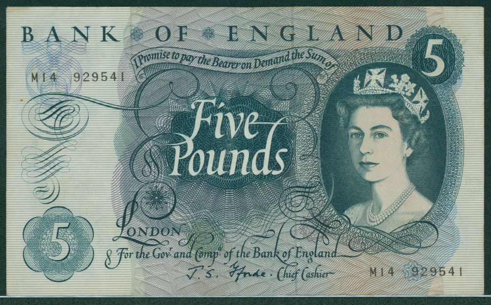 1967 Fforde £5 blue (M14 929541)