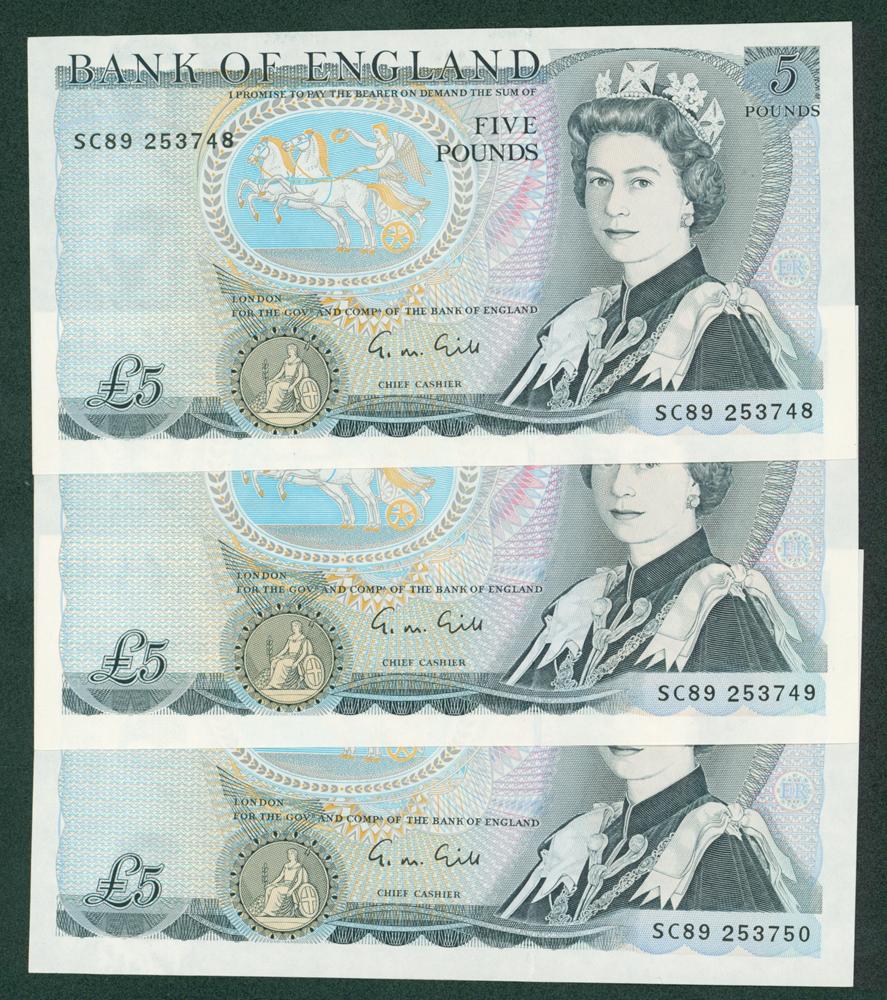 1970 Gill £5, consecutive trio