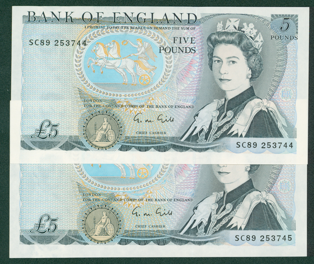 1970 Gill £5, consecutive pair