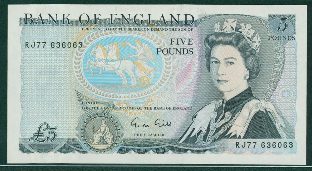 1970 Gill £5 (RJ77 636063)