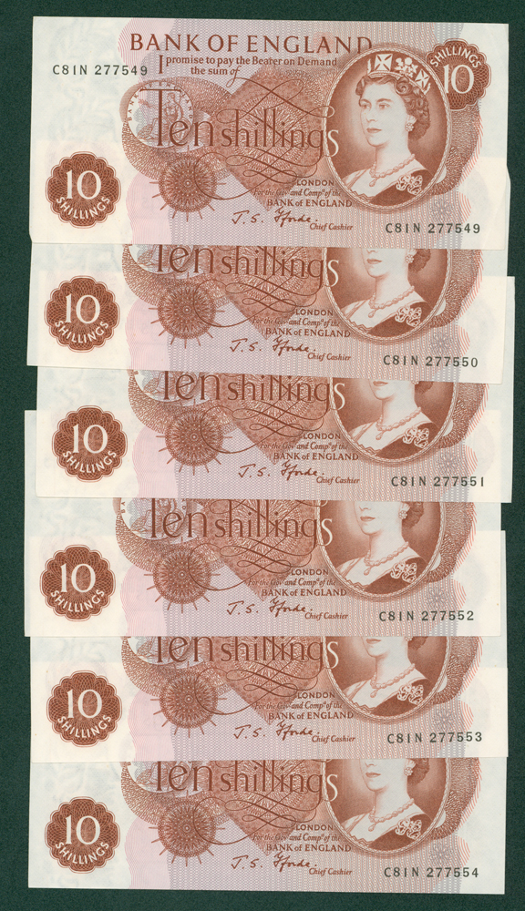 1967 Fforde 10s, consecutive run of 6