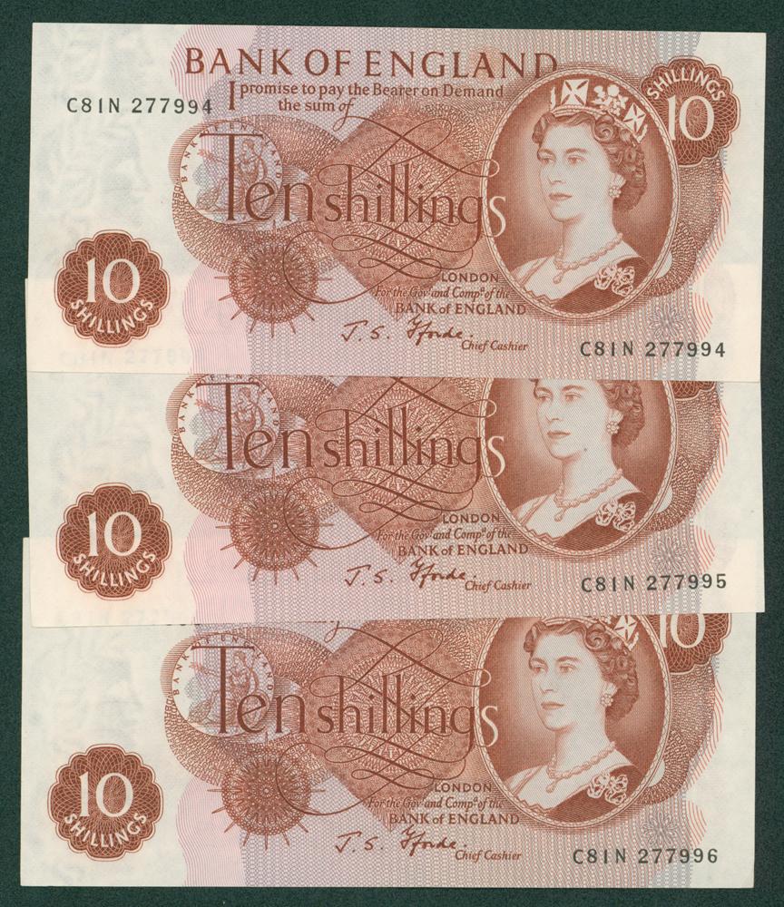 1967 Fforde 10s, consecutive run of 3