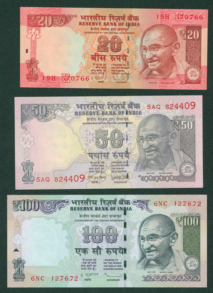 India - 2000+ 20r, 50r & 100r