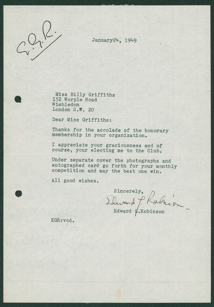 ROBINSON, EDWARD G American film actor 1893-1973 typed signed letter
