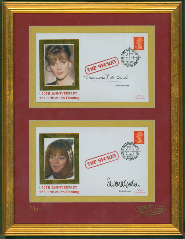 JAMES BOND A framed pair of philatelic covers