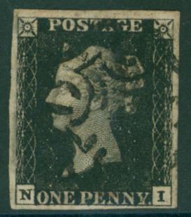 1840 1d black Plate 6 NI