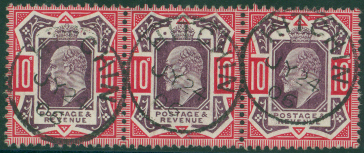1906 10s slate purple & carmine strip of three