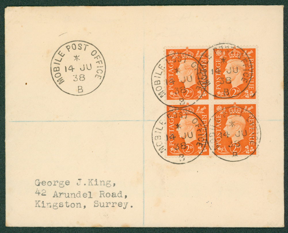 1938 Reg over franked KGVI 2d orange