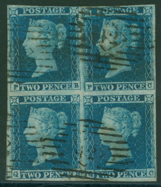 1841 2d blue Plate 4 PB/QC block of four