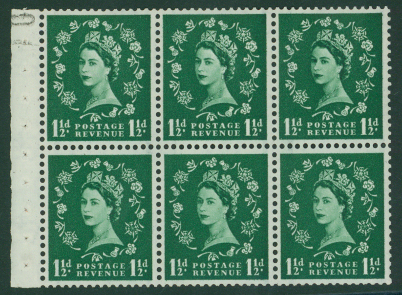 1959 1½d graphite booklet pane of six
