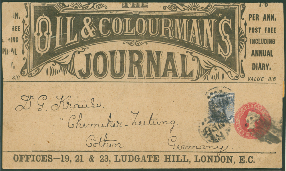 1884 Stamped to Order 3d carmine advertising wrapper for 'OIL & COLOURMANS JOURNAL,'