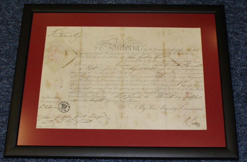 QUEEN VICTORIA signature on Military Commission - 1849 (11 Apr)