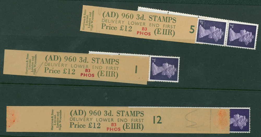 1967 3d violet (centre band) (3 items)
