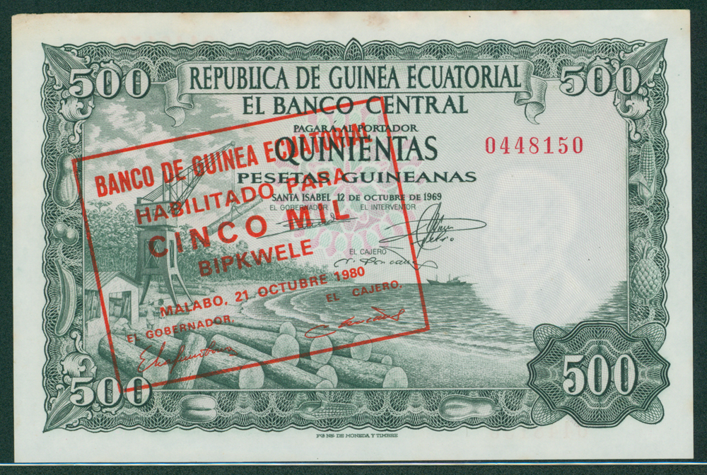 Equatorial Guinea 1969 5000 bipkwele on 500 pesatas