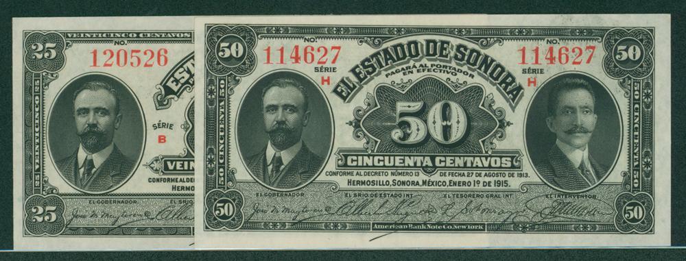Mexico 1915 25 centavos & 50 centavos