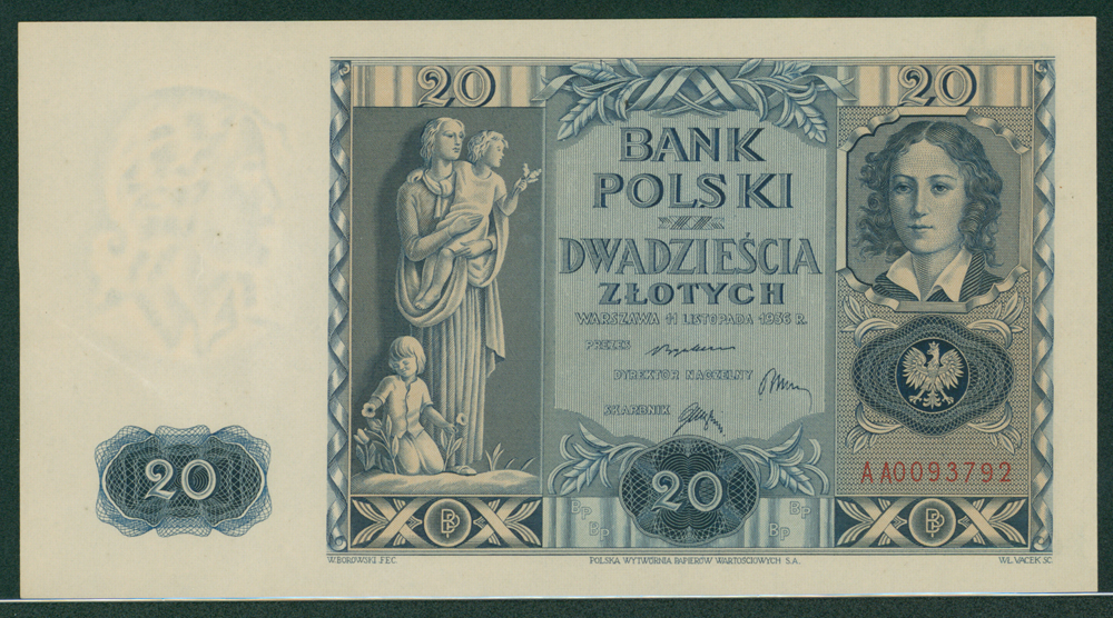 Poland 1936 20 zlotych statue of Platerowa/e. Plater