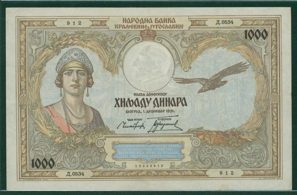 Yugoslavia 1931 1000 dinar