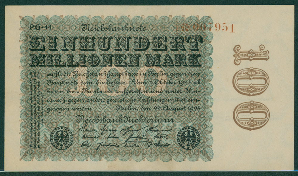 Germany 1923 100 million mark