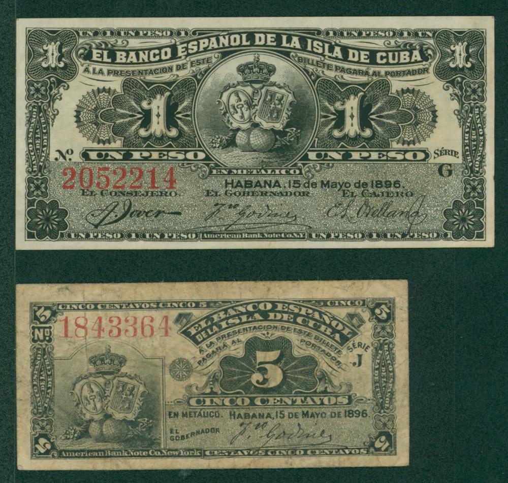 Cuba 1896 5 centavos and 1 peso