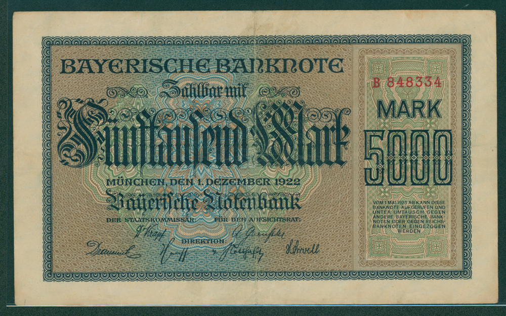 Germany Bayerische notebank 1922 5,000 mark