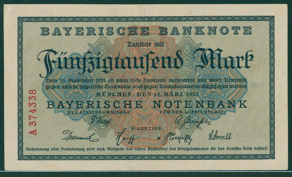 Germany Bayerische notebank 1925 50,000 mark