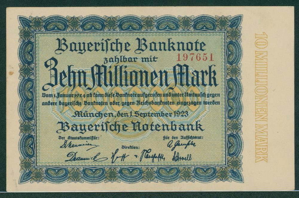 Germany Bayerische Notenbank 1923 10 millionen mark