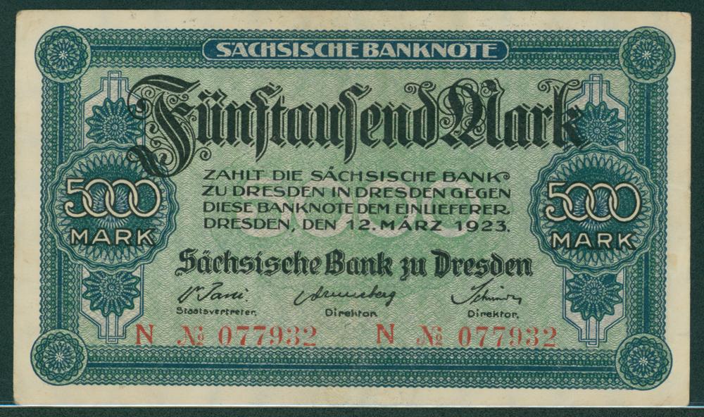 Germany Bank of Saxony 1923 5000 mark