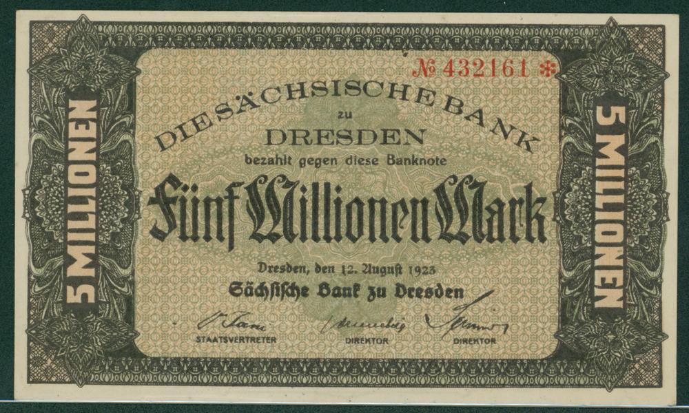 Germany Bank of Saxony 1923 5 millionen mark
