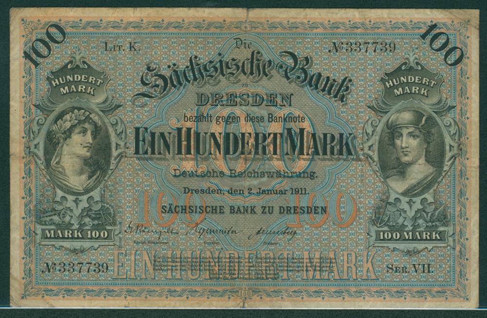Germany Bank of Saxony 1911 100 mark