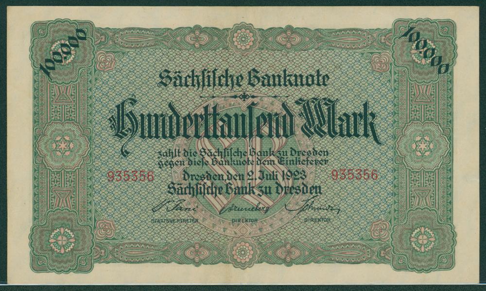 Germany Bank of Saxony 1923 100,000 mark