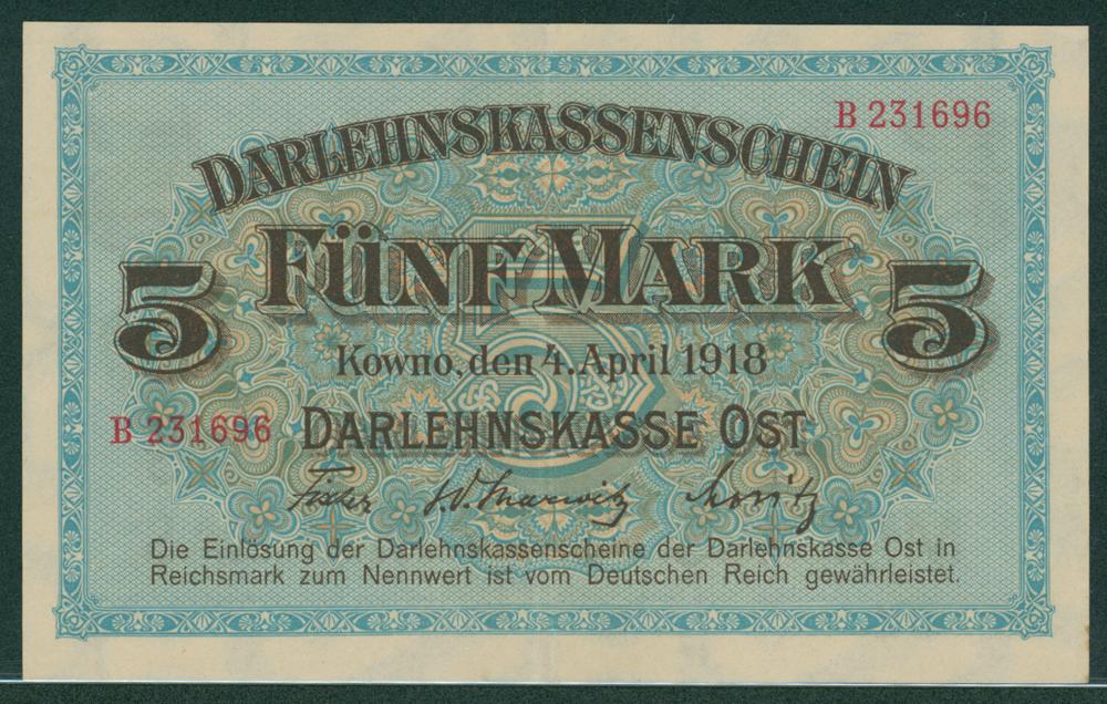 Germany State Loan Bank East - Kaunas 1918 5 mark