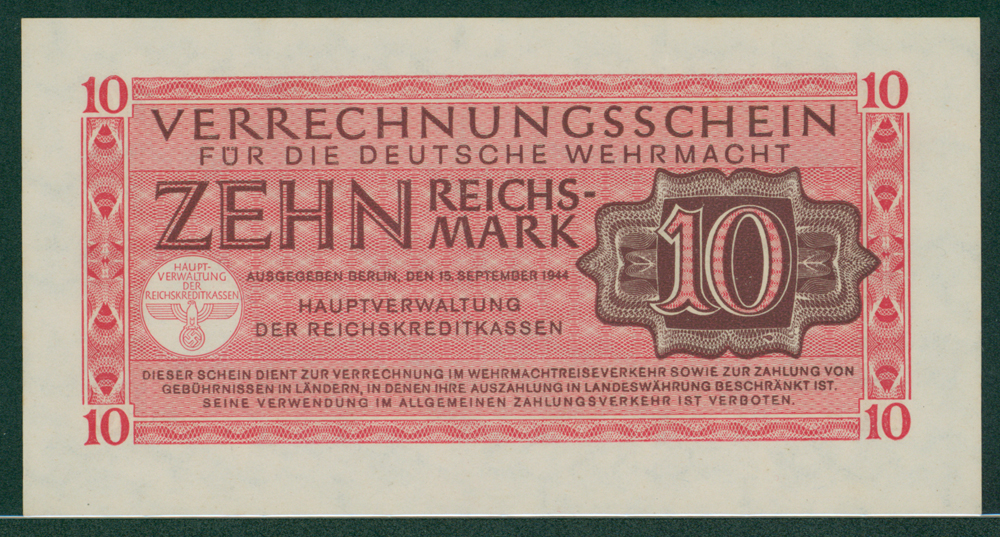 Germany Clearing Notes for German Armed Forces 1944 10 reichsmark
