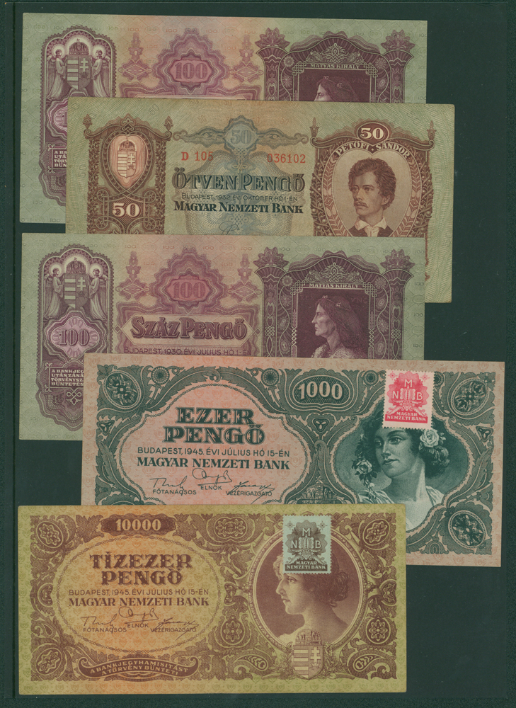 Hungary 1930 100 pengo, 50 pengo, 100 pengo, 1000 pengo & 10,000 pengo (5 notes)
