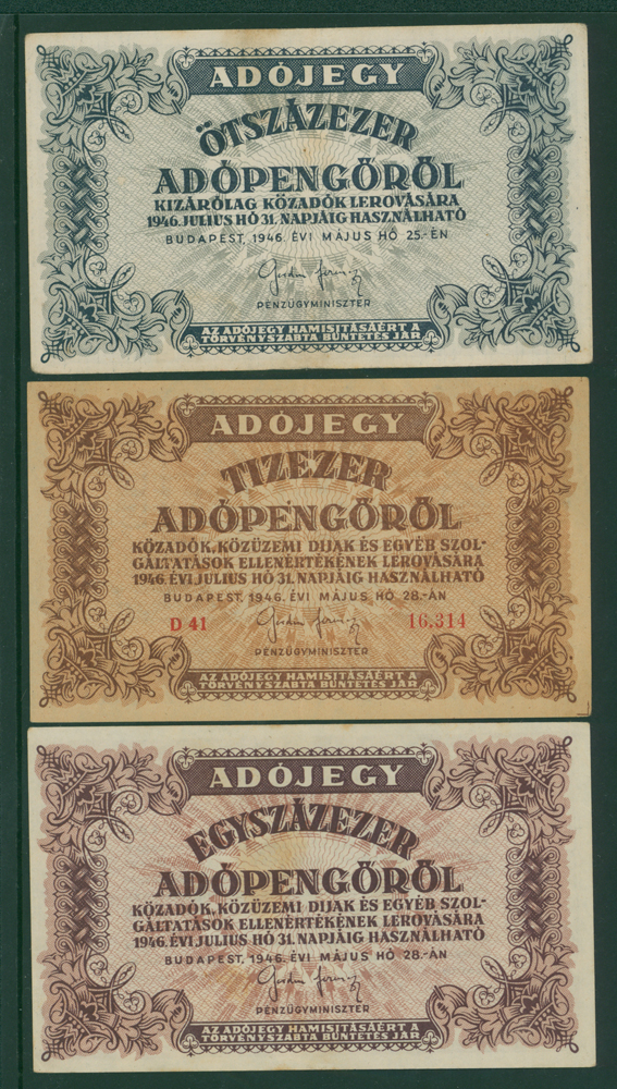 Hungary 500,00 adopengo, 10,000 adopengo, 100,000 adopengo (3 notes)