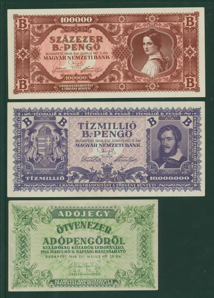 Hungary 1946 100,00 B-pengo, 10,000,000 B-pengo, 50,000 adopengo (3 notes)