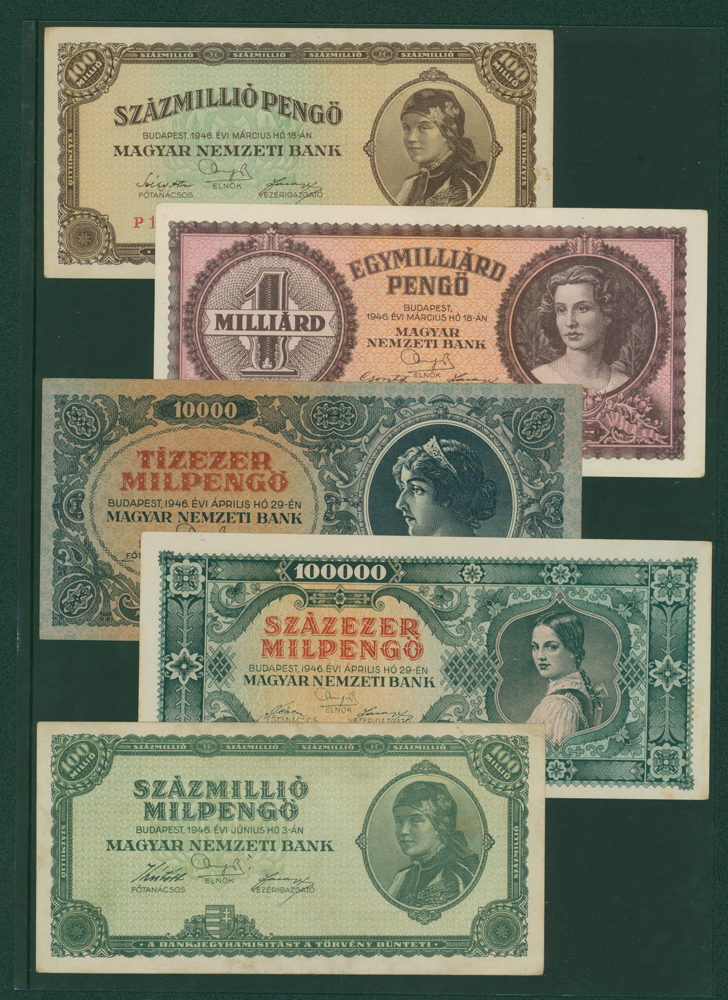 Hungary 1946 100,000,000 pengo, 1 milliard pengo, 10,000 milpengo, 100,000 milpengo, 100 million milpengo (5 notes)