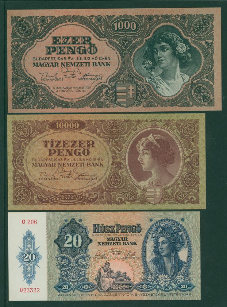 Hungary 1941 20 pengo, 1945 1000 pengo, 10,000 pengo (3 notes)